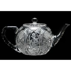 Sinclaire & Company, American Brilliant Period Cut Glass Teapot circa wheel cut and engraved with hobstar motifs and floral decoration, signed at bottom of handle. 5 x 10 x 6 in.