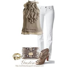 """tan and white"" by stacy-gustin on Polyvore"