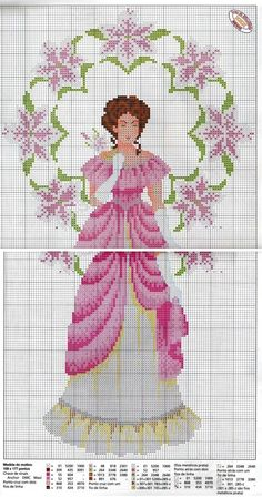 0 point de croix lady en blanc et rose - cross stitch lady in white and pink