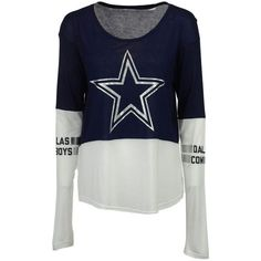 Women's Dallas Cowboys Audrey Long Sleeve T-Shirt ($36) ❤ liked on Polyvore featuring tops, t-shirts, white long sleeve t shirt, cut off t shirt, long sleeve jersey t shirt, jersey tee and long sleeve layering tees