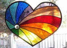 Stained Glass Window Art RAINBOW HEART Suncatcher Panel Tiffany Style…
