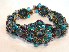 Peacock  Bracelet Blue Green Crystals Rhinestones Beaded tagt cc tt 123 cccoe loh steam. $75.00, via Etsy.
