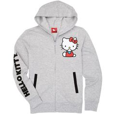 Hello Kitty Attitude Grey Hoodie ($30) ❤ liked on Polyvore