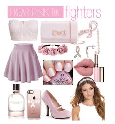"""""""I were pink for fighters"""" by manoorty123 ❤ liked on Polyvore featuring NLY Trend, Ted Baker, Napier, Casetify, JFR, Forever 21, Bottega Veneta, OPI, Clarins and IWearPinkFor"""