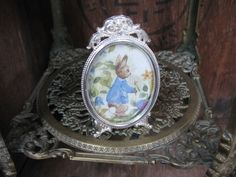 Vintage Rabbit Picture, Silver Plated Frame, Baby Rabbit, Bunny Rabbit, Rabbit Print, Rabbit Gift, Birth Gift, Baptism Gift, Christening by MissieMooVintageRoom on Etsy