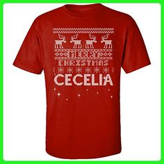 Ugly Christmas Sweater Greetings From Cecelia - Adult Shirt 2xl Red - Holiday and seasonal shirts (*Amazon Partner-Link)