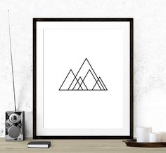 Minimalist Mountain Print Geometry Art Minimalist door TopFoxPrints
