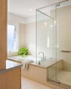 Shower wall tile continues behind tub. Edgewood House - contemporary - Bathroom - Providence - Estes\/Twombly Architects Inc. Frameless Shower Doors, Bathroom Windows, Tiled Bathrooms, Shower Tub, Shower Seat, Shower Enclosure, Kohler Shower, Shower Valve, Shower Floor