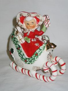 Vintage Christmas Holt Howard Era Napco Ceramic Shopper Girl Candy Cane Sleigh