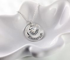 Sterling silver stacked name necklace with heart charm makes a wonderful gift…