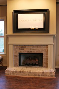 Half Brick Fireplace Surround with Elevated Hearth