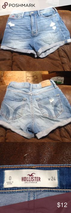 Hollister high waisted denim shorts Light blue distressed high waisted denim shorts from Hollister. Excellent condition, size 0. Hollister Shorts Jean Shorts