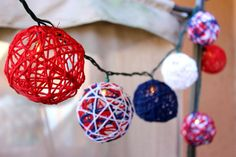 Light Up the Fourth of July with Patriotic Red, White and Blue Yarn String Lights