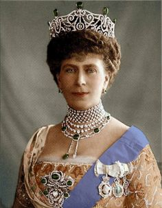 Queen Mary wearing the Delhi Durbar Tiara with Emeralds. Camilla wears this tiara now.  Royal Jewels  Tiara