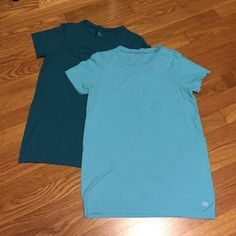 2 Gap Fit Shirts Two small Gap fit crew neck dry-fit t-shirts. One sky blue. One deep turquoise blue. Sold together. Only worn to sleep. GAP Tops Tees - Short Sleeve