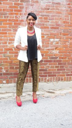 JasmineDiane.com | Black and White | Printed Pants | Gold | Metallic | Blogger | Kanas City | Red Car