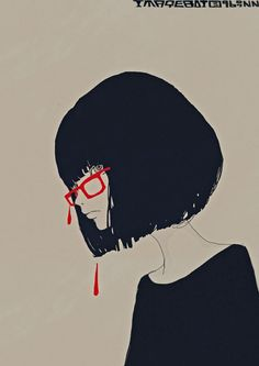 Flat style illustrations by Japanese artist Kotaro Chiba- though its simple its very dramatic the hint of red bleeding from her glasses frame- creates a sense of dramatics- it seems to be an ink drawling but very beautiful-