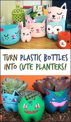 Easy DIY Plastic Bottle Projects upcycle projects for k. - Easy DIY Plastic Bottle Projects upcycle projects for kids - Plastic Bottle Planter, Empty Plastic Bottles, Diy Projects With Plastic Bottles, Plastic Bottle Crafts Flowers, Plastic Pots, Recycled Art Projects, Craft Projects, Recycled Bottle Crafts, Recycled Crafts For Kids