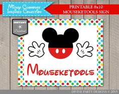 INSTANT DOWNLOAD Mickey Clubhouse Mousketools 8x10 Sign by DivinePartyDesign. Printables. Perfect for a Mickey Clubhouse themed birthday party to put next to your utensils/silverware. Use code PINTEREST10 to save 10% off your purchase.