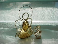Suncatcher Angel Candle Holder LOT of 2 Stained Glass Horn and Song Book