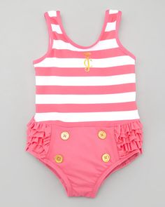 Juicy Couture Baby - Striped Ruffle Bottom One-Piece Swimsuit