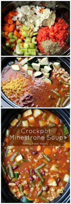 The Best Minestrone Soup that you can make in the crockpot! FamilyFreshMeals.com -