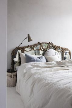 Reimagine your bedroom design with on-trend decor tips for 2019 culled from our interior designers to help you create a dream oasis in your home. Home Bedroom, Bedroom Decor, Bedroom Apartment, Apartment Goals, Bedroom Ideas, Mirror Headboard, Headboard Ideas, Headboards, Antique Headboard