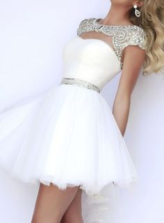 Homecoming Dresses 2015 New Fashion A Line With Beaded Cap Sleeves Short Prom Dress Evening Gowns from meetdresse from HelloDresses Bodycon Prom Dresses, Short Sleeve Prom Dresses, Dama Dresses, Pretty Prom Dresses, Quince Dresses, Hoco Dresses, Dresses For Teens, Elegant Dresses, Dress Wedding