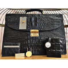 The holidays are fast approaching... What are you getting that special man in your life? How about a custom hornback alligator briefcase or wallet? Or a vintage watch or money clip? #mensfashion #vintagewatch #alligator #mensjewelry #briefcase