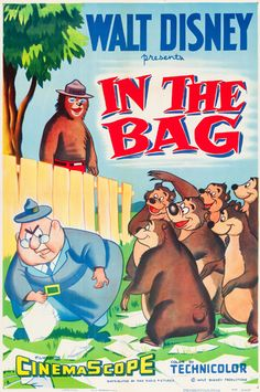 "1956 Humphrey the Bear ""In the Bag"" Disney Cartoon short movie poster"