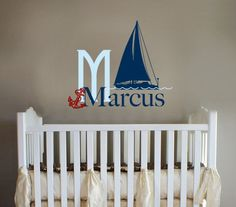 Sailboat Monogram Decal Boat decal Ship decal Nautical by OwlHills, $24.00