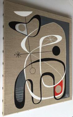 El Gato Gomez Painting Retro 1950's Mid Century Modern Eames Atomic Abstract | eBay