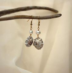 Pearl Earrings, Opihi Shell Earrings, Seashell Earrings, Beach Earrings, Seashell Jewelry, Beach Jewelry, Shell Jewelry, Hawaii Jewelry. $10.00, via Etsy.