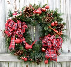 Rustic Winter Cardinal Woodland Cabin Christmas Wreath, by IrishGirlsWreaths on Etsy, $110.00-SOLD!