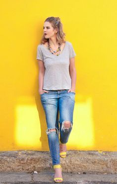 Denim and t-shirt! Yellow shoes Stylist Huidrie Marais Photoshoot done in Cape Town