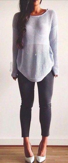 Gray see through sweater + white bustier + dark gray jeans eccab2274905