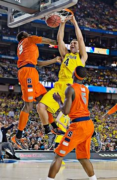 Mitch McGary scored 10 points for Michigan on a night when teammate Trey Burke, the AP Player of the Year, struggled and finished with just seven points. Michigan Athletics, Michigan Wolverines, Basketball Teams, College Basketball, Trey Burke, 10 Points, Final Four, Go Blue, March Madness
