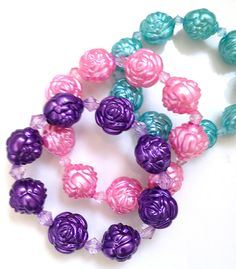 Pastel Goth Pearlized Carved Rose Beaded Bracelet on Etsy, $8.74 CAD