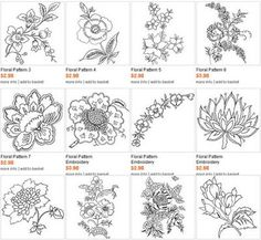 Flower embroidery patterns - lotus