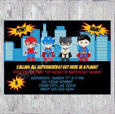 Cute Superheroes Invitation by SimplyAdorableStudio on Etsy