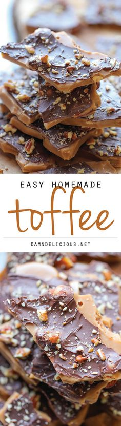 Easy Homemade Toffee - An unbelievably easy, no-fuss, homemade toffee recipe. So addictive, you won't want to share! Looks like the perfect little snack. Homemade Toffee, Homemade Candies, Homeade Candy, Homemade Candy Recipes, Homemade Recipe, Recipe Recipe, Homemade Food, Diy Food, Holiday Baking