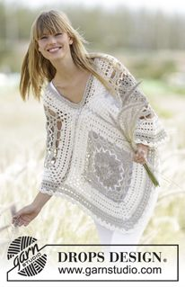 "Midsummer Joy - Crochet DROPS poncho with squares in ""Bomull-Lin"". One-size - Free pattern by DROPS Design"