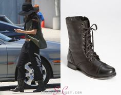 Our favorite boot addict Selena Gomez added yet another pair of Steve Madden's to her collection recently. She was photographed out and about in LA sporting the a classic pair of Steve Madden 'Troopa' Boots in color Black. These boots can be yours courtesy of Nordstrom.com for $99.95.  Buy them HERE  She's also wearing a JET by John Eshaya vest and Christy's Crown hat.