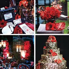 Gold Wedding Centerpieces on This Red And Black Wedding Is Perfect For A Gothic Celebration And We