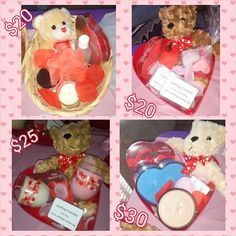 Valentines Day Baskets! Www.facebook.com/soothingcreations  Looking for unique Valentine's day present for your loved ones? Check out Soothing Creations Valentine's day items :) candles can be made in any of our scents  Body Product Basket $20 Contents: body butter, bath salts, sugar scrub, votive candle, hand sanitizer, loofah, teddy bear and box of chocolates  Melting Tart Basket $20 Contents: 3 - 3.5oz tarts, 4 - 1oz melting samples, 3 shaped melts, teddy bear and a box of chocolates…