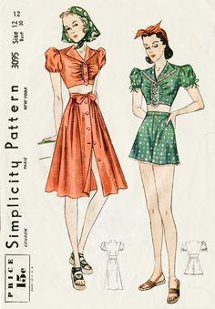 Simplicity 3095 circa 1939 Playsuit and Skirt