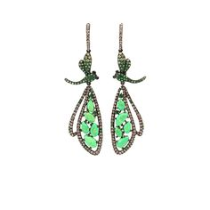 WENDY YUE Green Turquoise Dragonfly Drop Earrings