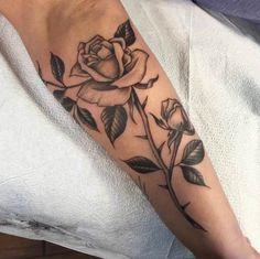 Blackwork Rose Tattoo by Amy Shapiro