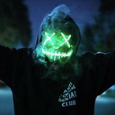 Pin this 👾 Purge Mask, Glow Mask, Face Light, Masks Art, Photo Lighting, Cyberpunk, Cover Art, Horror, Halloween