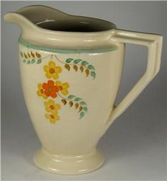 burleigh ware    Burleigh Ware Art Deco Hand Painted Yellow/Orange Flowers Jug 15.5cm ...